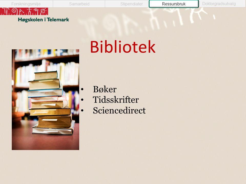 Bibliotek SamarbeidForskningsmiljøStipendiater Doktorgradsutvalg Ressursbruk • Bøker • Tidsskrifter • Sciencedirect