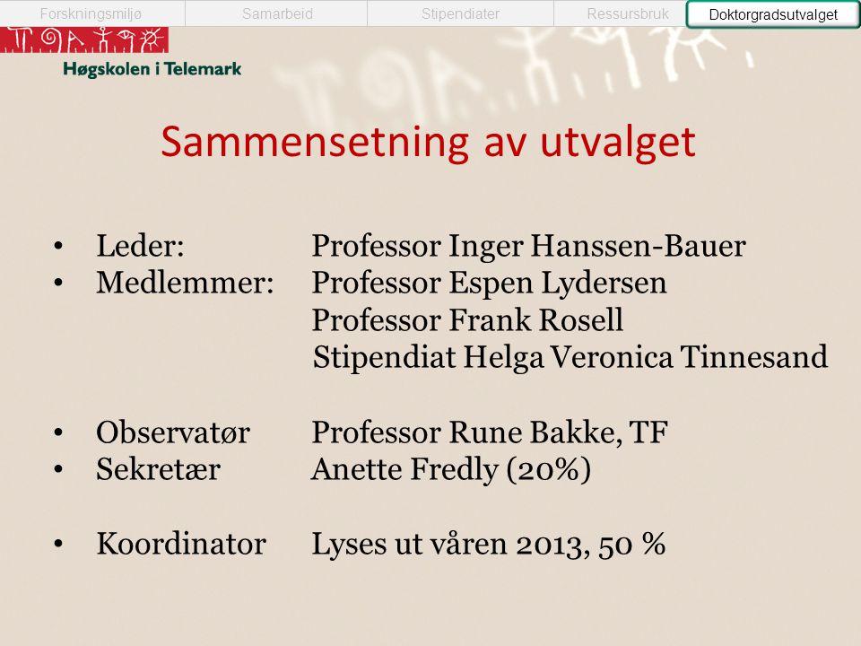 Sammensetning av utvalget SamarbeidForskningsmiljøStipendiaterRessursbruk • Leder:Professor Inger Hanssen-Bauer • Medlemmer:Professor Espen Lydersen P