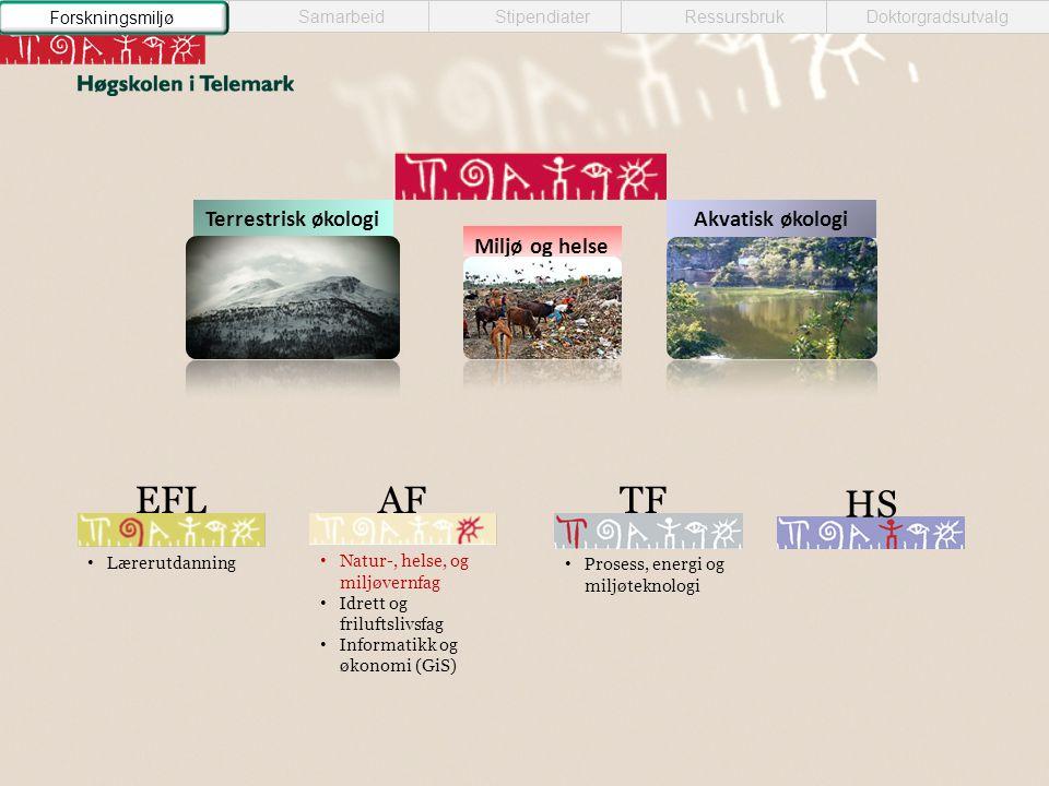 Miljø og helse Akvatisk økologiTerrestrisk økologi HS AF • Natur-, helse, og miljøvernfag • Idrett og friluftslivsfag • Informatikk og økonomi (GiS) E