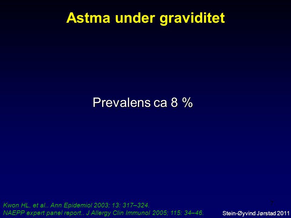 7 Prevalens ca 8 % Astma under graviditet Kwon HL, et al..