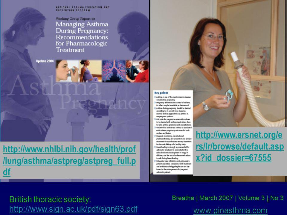 8 http://www.nhlbi.nih.gov/health/prof /lung/asthma/astpreg/astpreg_full.p df http://www.ersnet.org/e rs/lr/browse/default.asp x?id_dossier=67555 Breathe | March 2007 | Volume 3 | No 3 British thoracic society: http://www.sign.ac.uk/pdf/sign63.pdf www.ginasthma.com