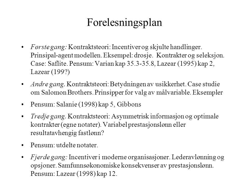 Forelesningsplan •Første gang: Kontraktsteori: Incentiver og skjulte handlinger. Prinsipal-agent modellen. Eksempel: drosje. Kontrakter og seleksjon.
