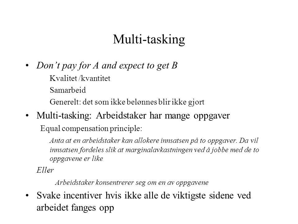 Multi-tasking •Don't pay for A and expect to get B Kvalitet /kvantitet Samarbeid Generelt: det som ikke belønnes blir ikke gjort •Multi-tasking: Arbei