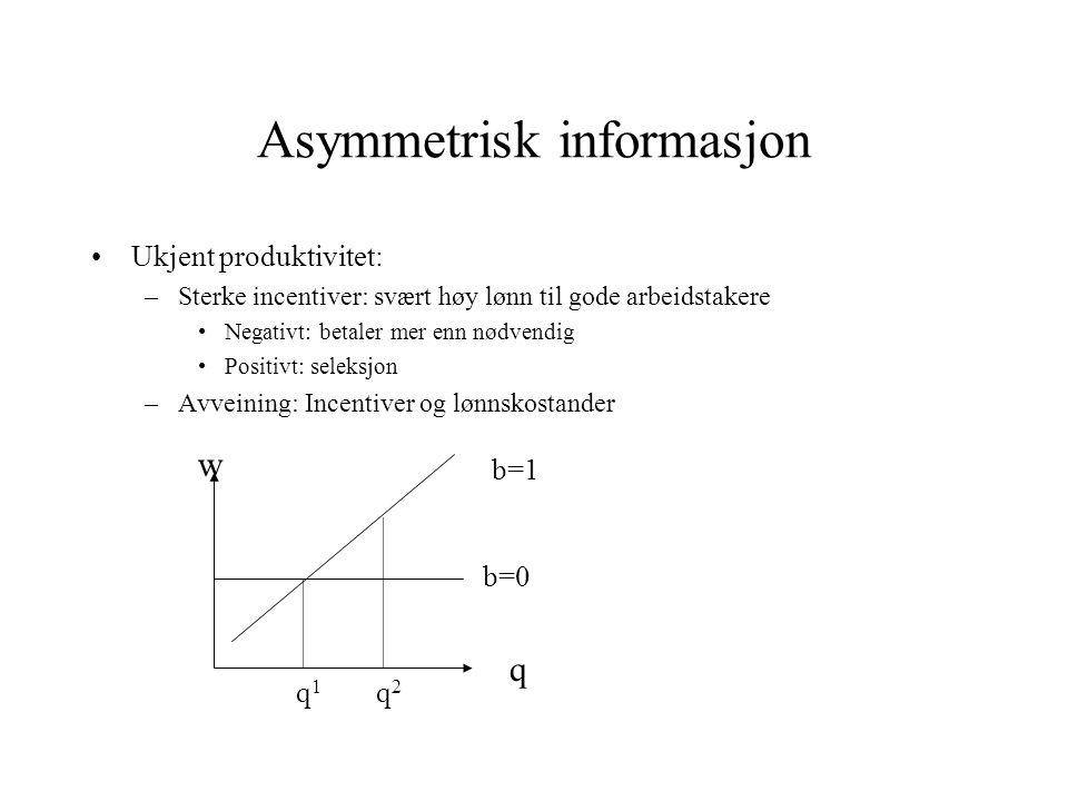 Asymmetrisk informasjon •Ukjent produktivitet: –Sterke incentiver: svært høy lønn til gode arbeidstakere •Negativt: betaler mer enn nødvendig •Positivt: seleksjon –Avveining: Incentiver og lønnskostander q w q1q1 q2q2 b=0 b=1