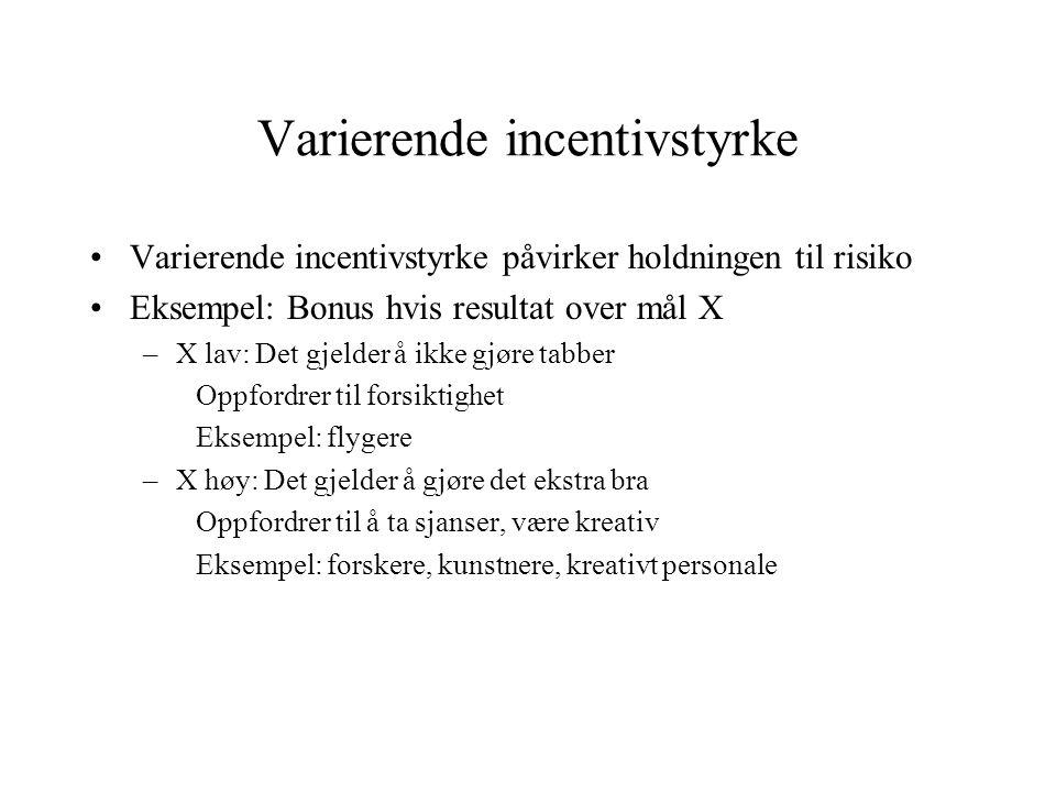 Varierende incentivstyrke •Varierende incentivstyrke påvirker holdningen til risiko •Eksempel: Bonus hvis resultat over mål X –X lav: Det gjelder å ik