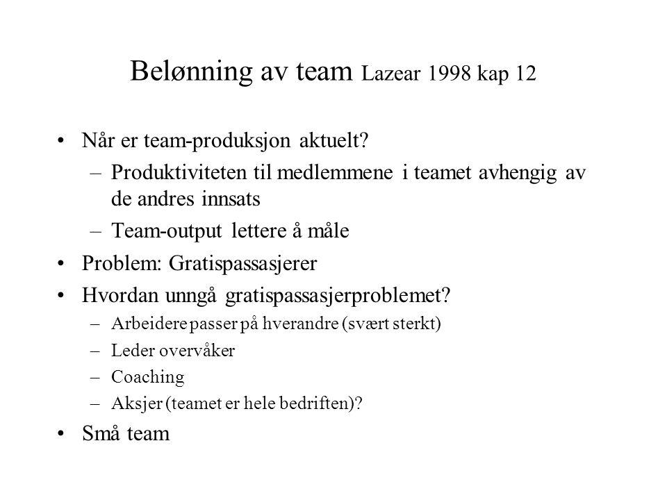 Belønning av team Lazear 1998 kap 12 •Når er team-produksjon aktuelt? –Produktiviteten til medlemmene i teamet avhengig av de andres innsats –Team-out