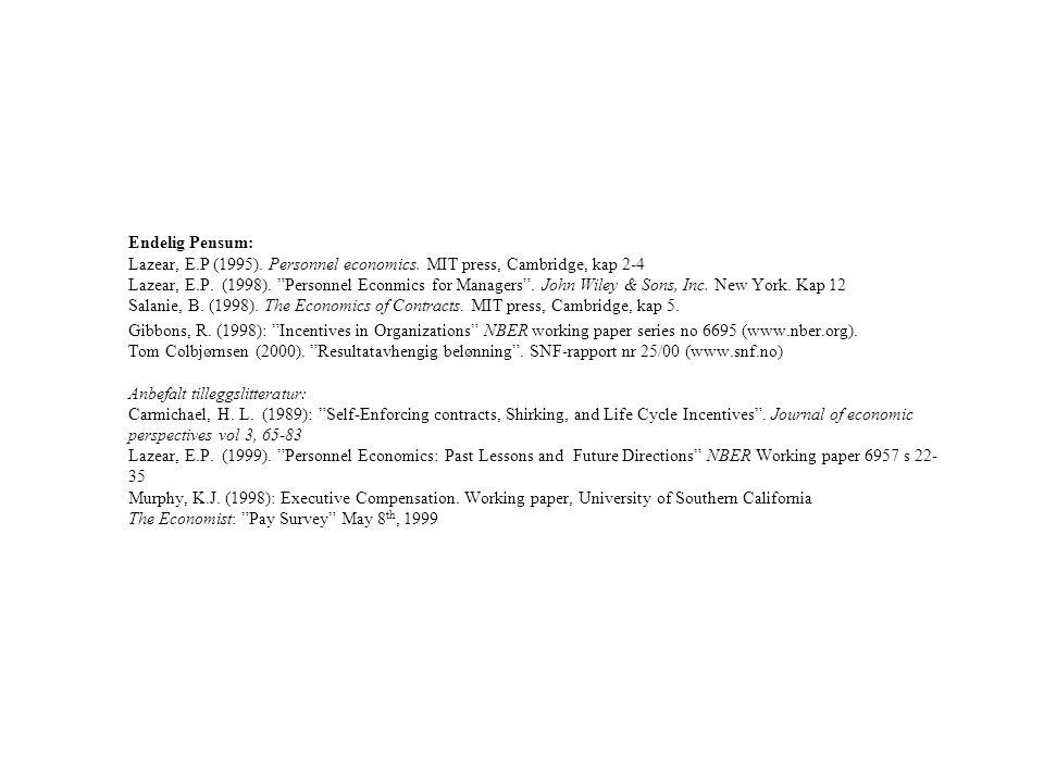 """Endelig Pensum: Lazear, E.P (1995). Personnel economics. MIT press, Cambridge, kap 2-4 Lazear, E.P. (1998). """"Personnel Econmics for Managers"""". John Wi"""
