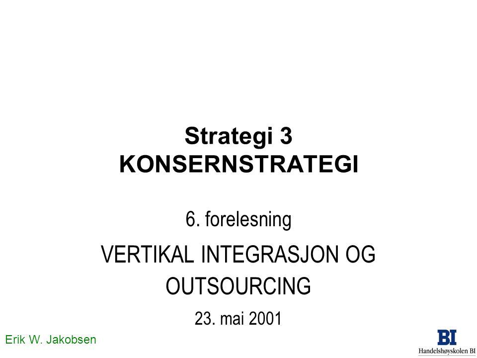 Erik W. Jakobsen Strategi 3 KONSERNSTRATEGI 6. forelesning VERTIKAL INTEGRASJON OG OUTSOURCING 23. mai 2001