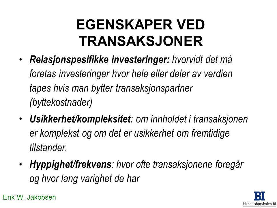 Erik W. Jakobsen EGENSKAPER VED TRANSAKSJONER • Relasjonspesifikke investeringer: hvorvidt det må foretas investeringer hvor hele eller deler av verdi