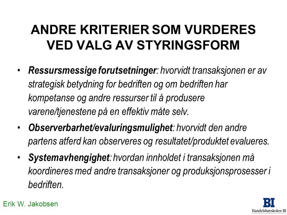 Erik W. Jakobsen ANDRE KRITERIER SOM VURDERES VED VALG AV STYRINGSFORM • Ressursmessige forutsetninger : hvorvidt transaksjonen er av strategisk betyd