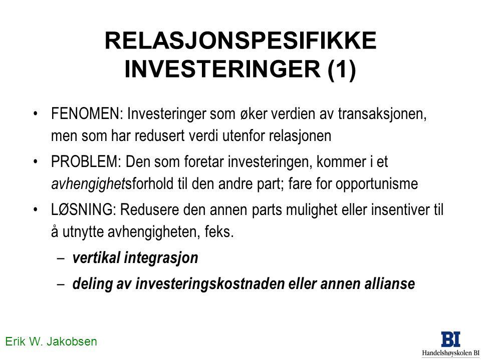 Erik W. Jakobsen RELASJONSPESIFIKKE INVESTERINGER (1) •FENOMEN: Investeringer som øker verdien av transaksjonen, men som har redusert verdi utenfor re