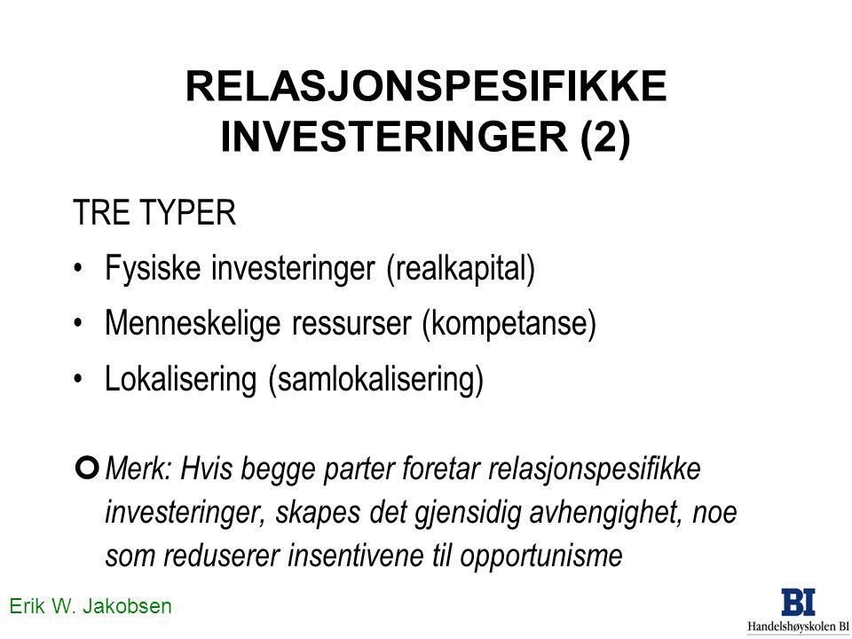 Erik W. Jakobsen RELASJONSPESIFIKKE INVESTERINGER (2) TRE TYPER •Fysiske investeringer (realkapital) •Menneskelige ressurser (kompetanse) •Lokaliserin