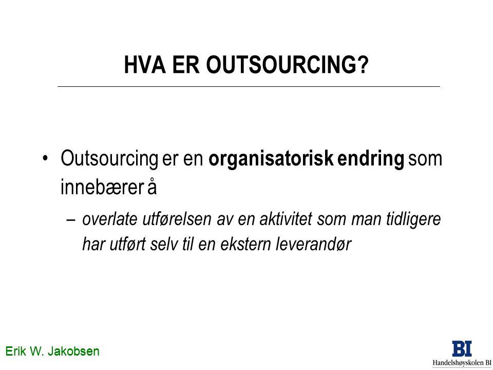 Erik W. Jakobsen HVA ER OUTSOURCING? •Outsourcing er en organisatorisk endring som innebærer å – overlate utførelsen av en aktivitet som man tidligere