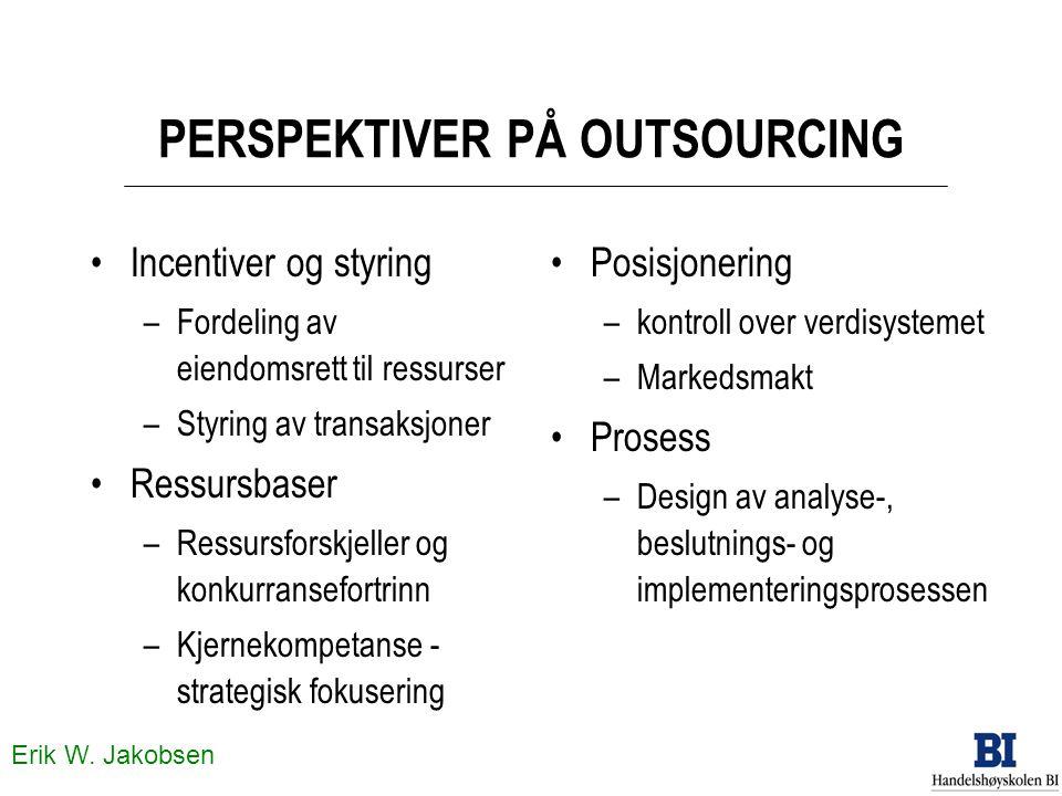 Erik W. Jakobsen PERSPEKTIVER PÅ OUTSOURCING •Incentiver og styring –Fordeling av eiendomsrett til ressurser –Styring av transaksjoner •Ressursbaser –