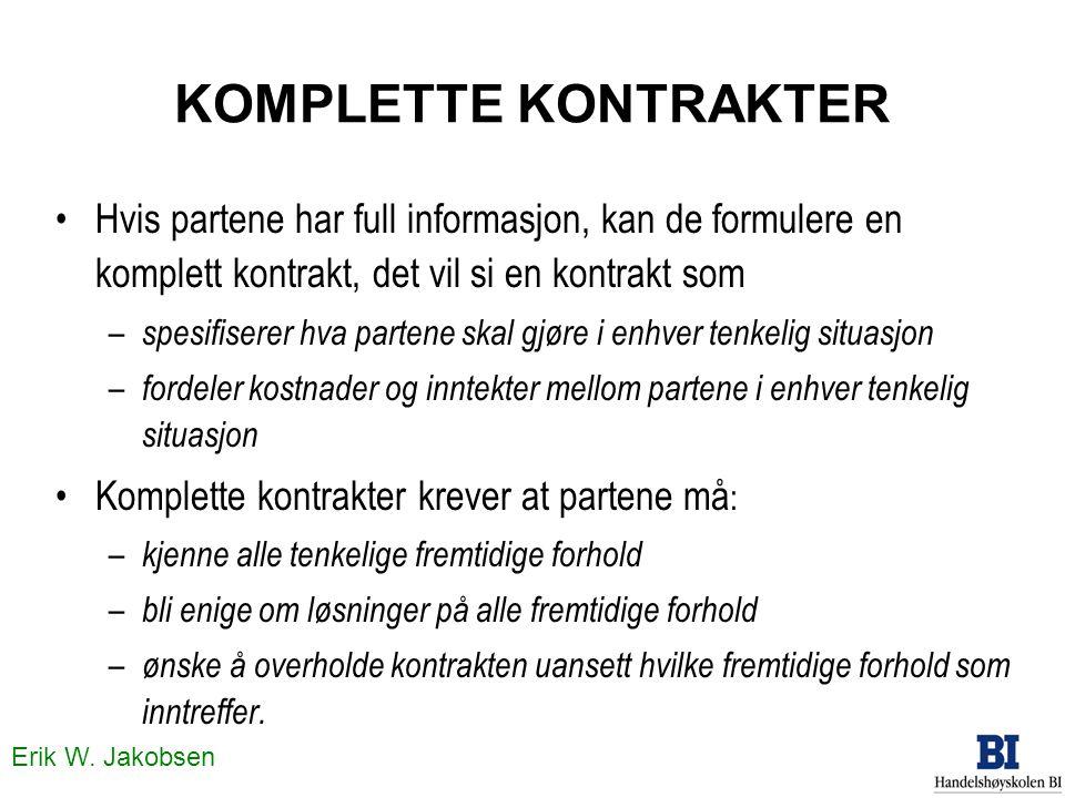 Erik W. Jakobsen KOMPLETTE KONTRAKTER •Hvis partene har full informasjon, kan de formulere en komplett kontrakt, det vil si en kontrakt som – spesifis