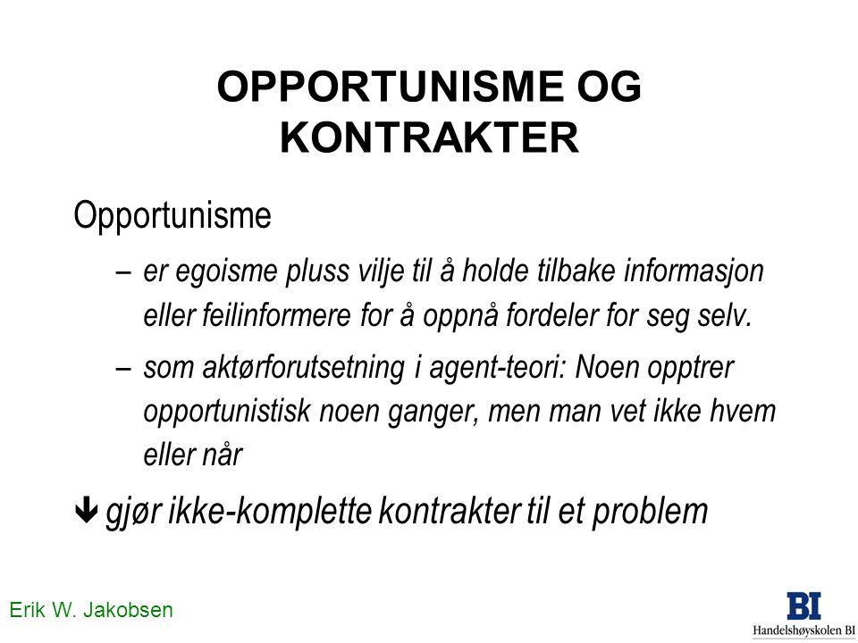 Erik W. Jakobsen OPPORTUNISME OG KONTRAKTER Opportunisme – er egoisme pluss vilje til å holde tilbake informasjon eller feilinformere for å oppnå ford