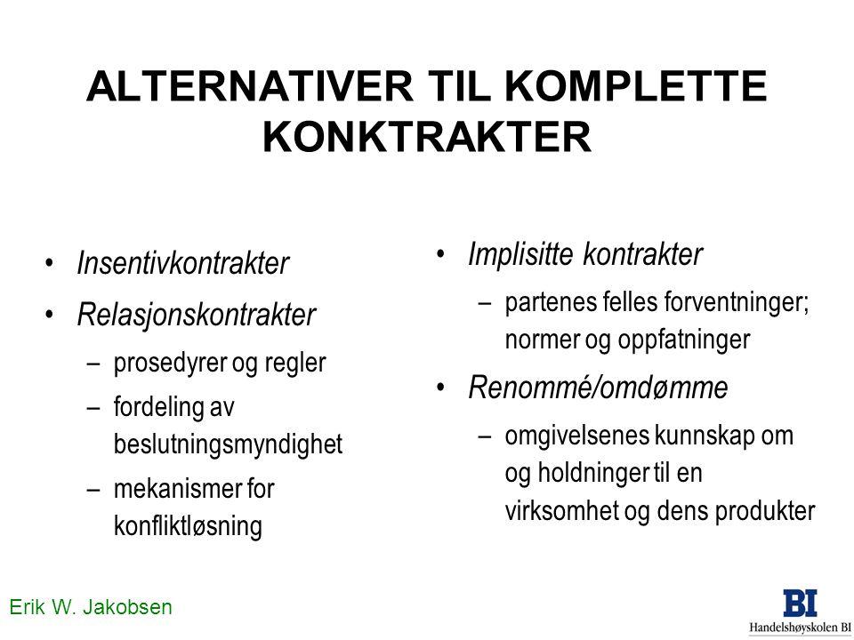 Erik W. Jakobsen ALTERNATIVER TIL KOMPLETTE KONKTRAKTER • Insentivkontrakter • Relasjonskontrakter –prosedyrer og regler –fordeling av beslutningsmynd