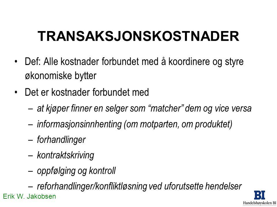 Erik W. Jakobsen TRANSAKSJONSKOSTNADER •Def: Alle kostnader forbundet med å koordinere og styre økonomiske bytter •Det er kostnader forbundet med – at