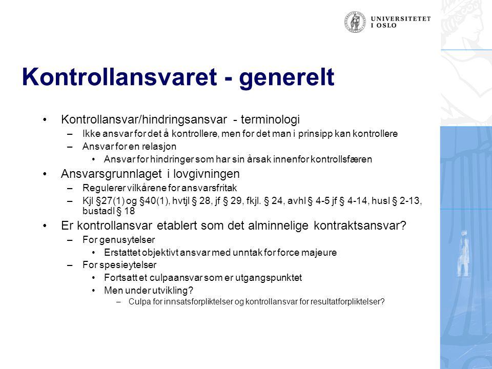 Kontrollansvaret - generelt •Kontrollansvar/hindringsansvar - terminologi –Ikke ansvar for det å kontrollere, men for det man i prinsipp kan kontrolle