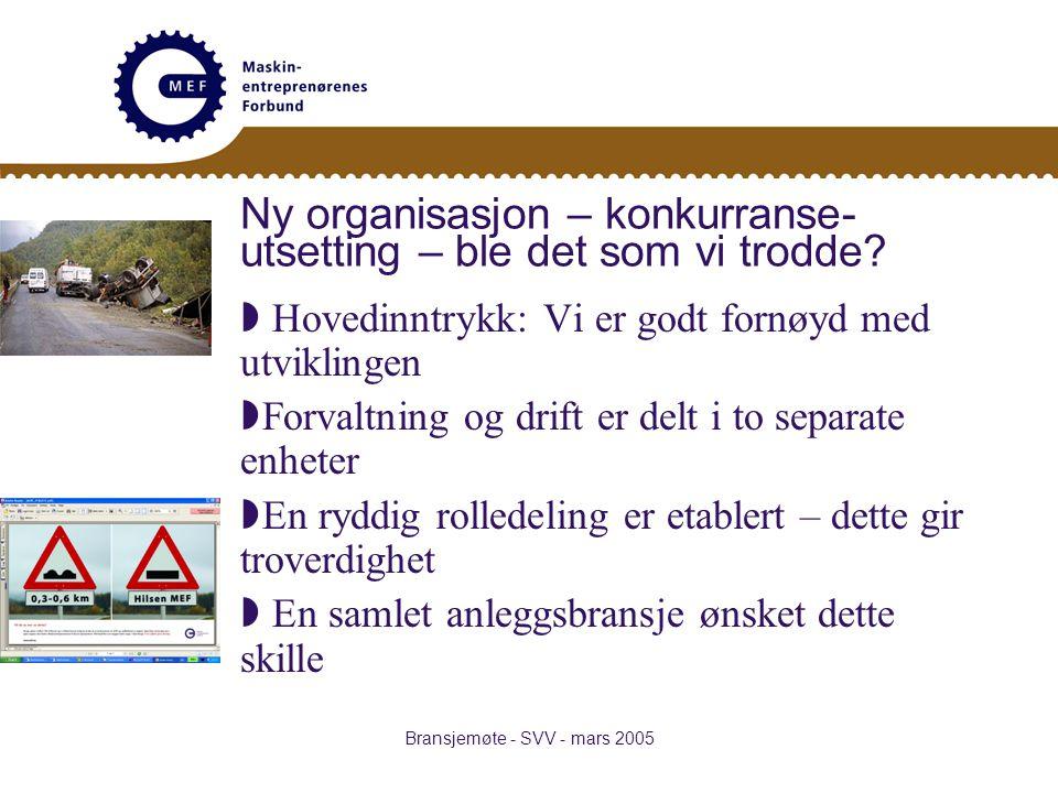 Bransjemøte - SVV - mars 2005 Ny organisasjon – konkurranse- utsetting – ble det som vi trodde.