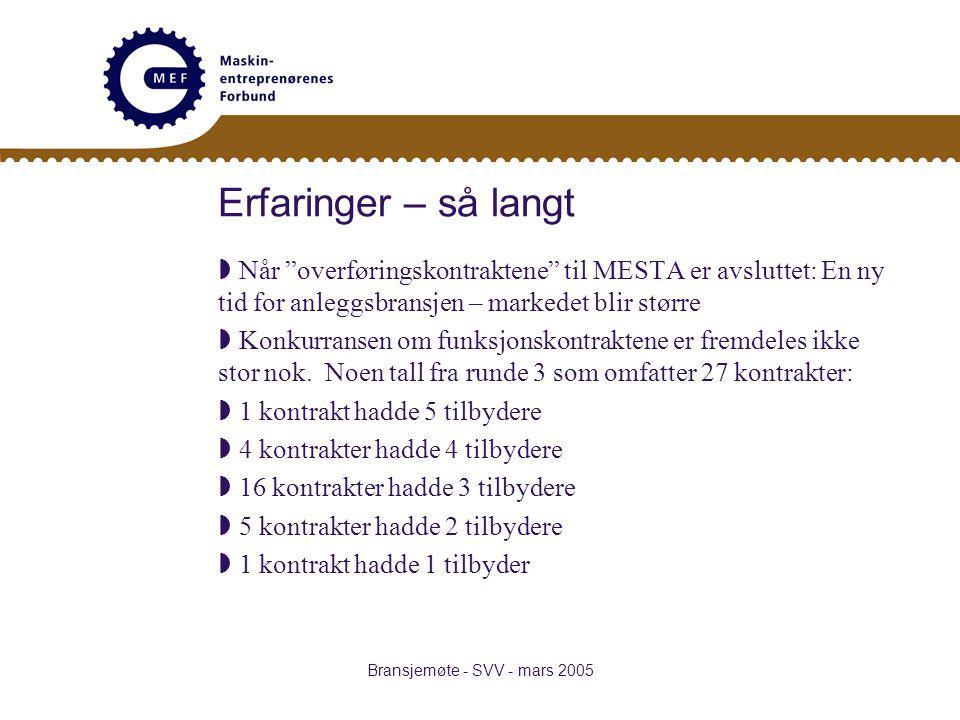 Bransjemøte - SVV - mars 2005 Erfaringer – så langt  Når overføringskontraktene til MESTA er avsluttet: En ny tid for anleggsbransjen – markedet blir større  Konkurransen om funksjonskontraktene er fremdeles ikke stor nok.