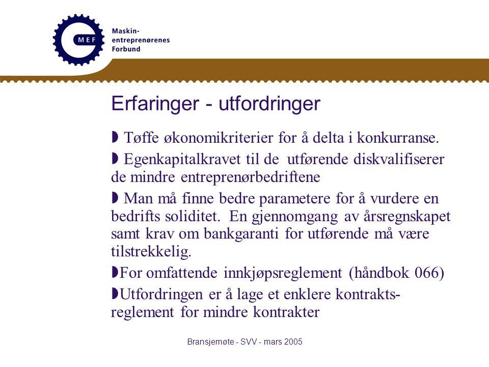 Bransjemøte - SVV - mars 2005 Erfaringer - utfordringer  Tøffe økonomikriterier for å delta i konkurranse.