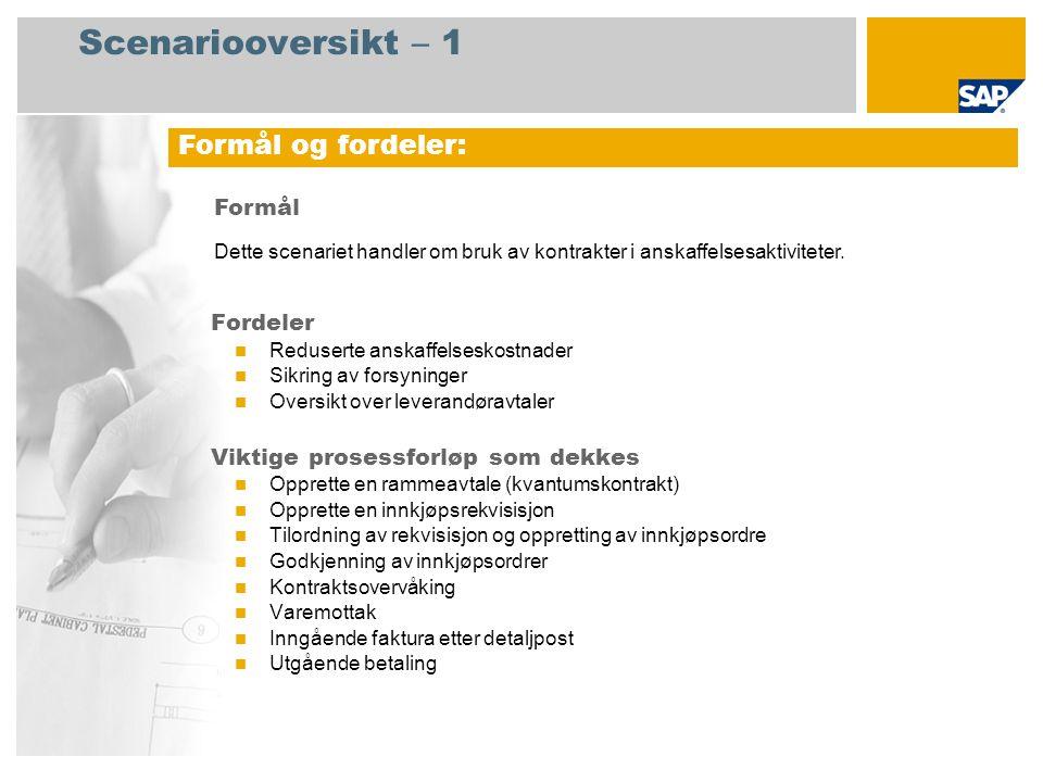 Scenariooversikt – 1 Fordeler  Reduserte anskaffelseskostnader  Sikring av forsyninger  Oversikt over leverandøravtaler Viktige prosessforløp som d