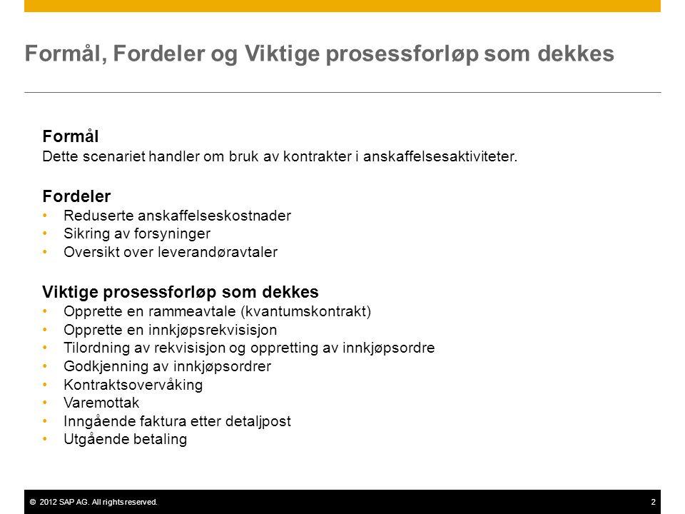 ©2012 SAP AG. All rights reserved.2 Formål, Fordeler og Viktige prosessforløp som dekkes Formål Dette scenariet handler om bruk av kontrakter i anskaf