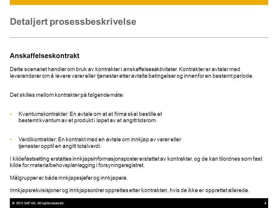 ©2012 SAP AG. All rights reserved.4 Detaljert prosessbeskrivelse Anskaffelseskontrakt Dette scenariet handler om bruk av kontrakter i anskaffelsesakti