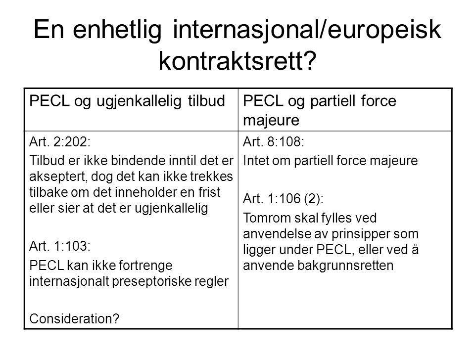 En enhetlig internasjonal/europeisk kontraktsrett? PECL og ugjenkallelig tilbudPECL og partiell force majeure Art. 2:202: Tilbud er ikke bindende innt