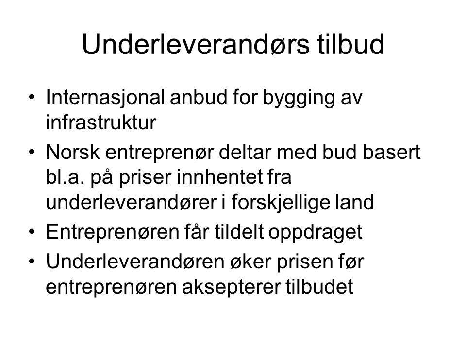 Underleverandørs tilbud •Internasjonal anbud for bygging av infrastruktur •Norsk entreprenør deltar med bud basert bl.a. på priser innhentet fra under