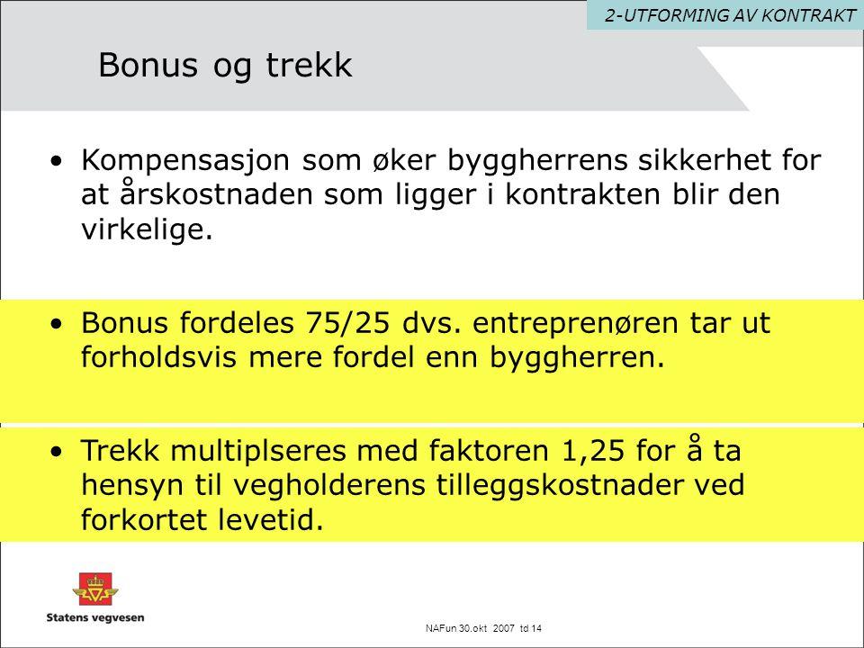 NAFun 30.okt 2007 td 14 Bonus og trekk •Bonus fordeles 75/25 dvs. entreprenøren tar ut forholdsvis mere fordel enn byggherren. 2-UTFORMING AV KONTRAKT