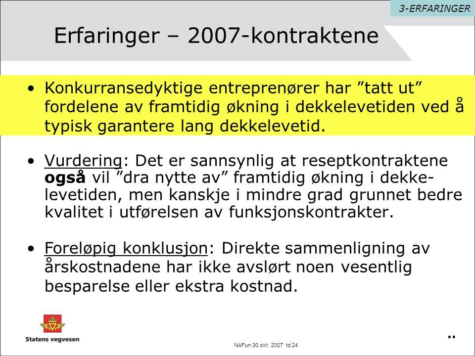 """NAFun 30.okt 2007 td 24 Erfaringer – 2007-kontraktene •Vurdering: Det er sannsynlig at reseptkontraktene også vil """"dra nytte av"""" framtidig økning i de"""