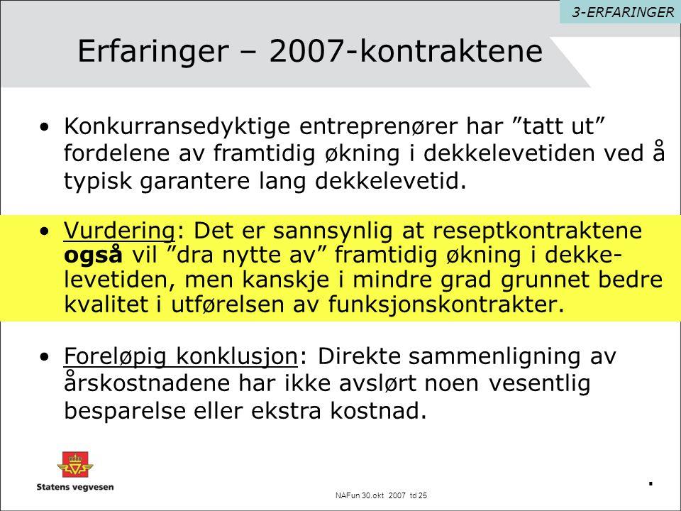NAFun 30.okt 2007 td 25 Erfaringer – 2007-kontraktene •Vurdering: Det er sannsynlig at reseptkontraktene også vil dra nytte av framtidig økning i dekke- levetiden, men kanskje i mindre grad grunnet bedre kvalitet i utførelsen av funksjonskontrakter..