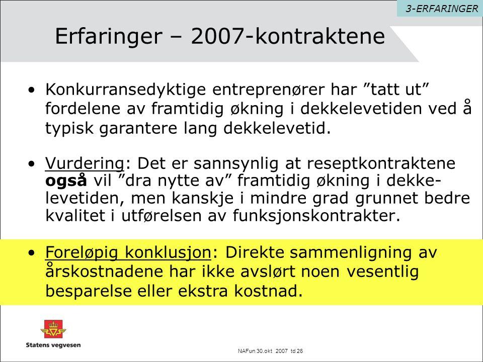 """NAFun 30.okt 2007 td 26 Erfaringer – 2007-kontraktene •Vurdering: Det er sannsynlig at reseptkontraktene også vil """"dra nytte av"""" framtidig økning i de"""