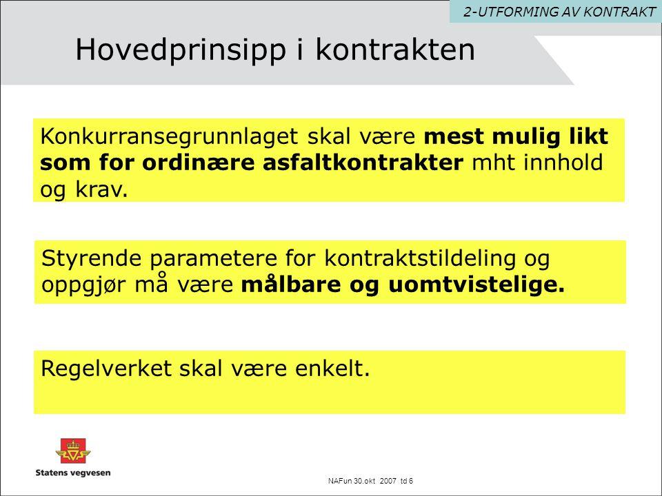 NAFun 30.okt 2007 td 17 Funksjonskontrakt 2005 – 2009 E18 Sandvika - Slependen 3-ERFARINGER Region øst har lagt tilsammen ca.