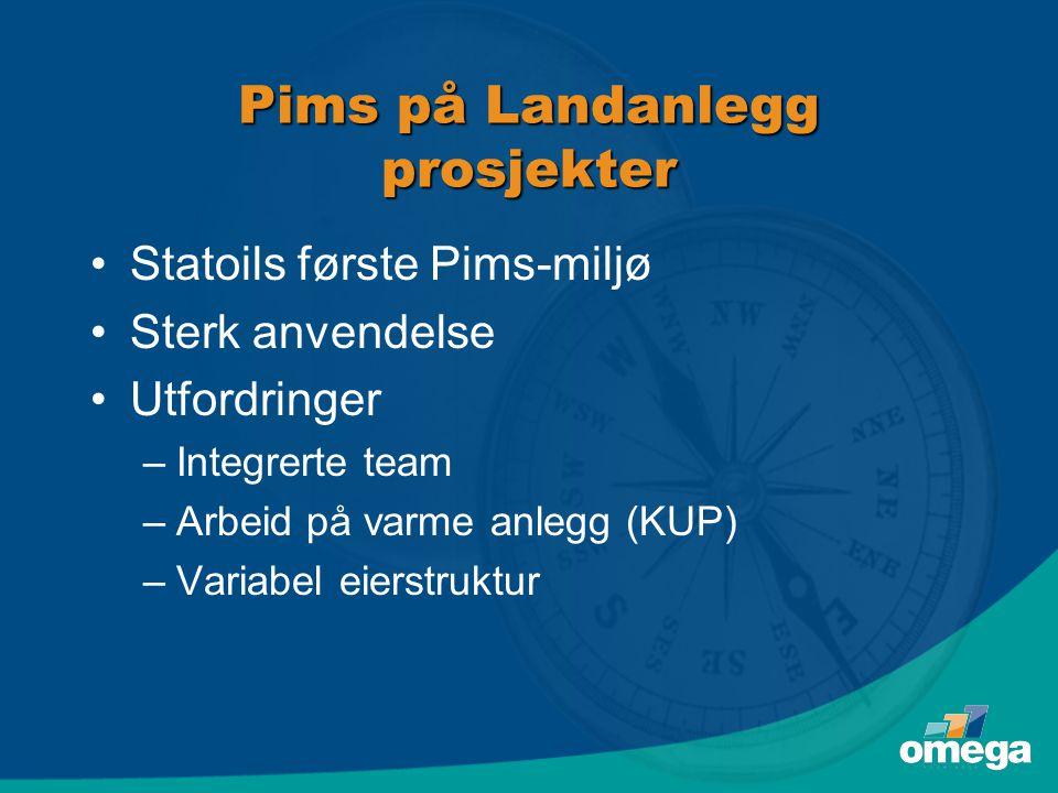 Pims på Landanlegg prosjekter •Statoils første Pims-miljø •Sterk anvendelse •Utfordringer –Integrerte team –Arbeid på varme anlegg (KUP) –Variabel eierstruktur