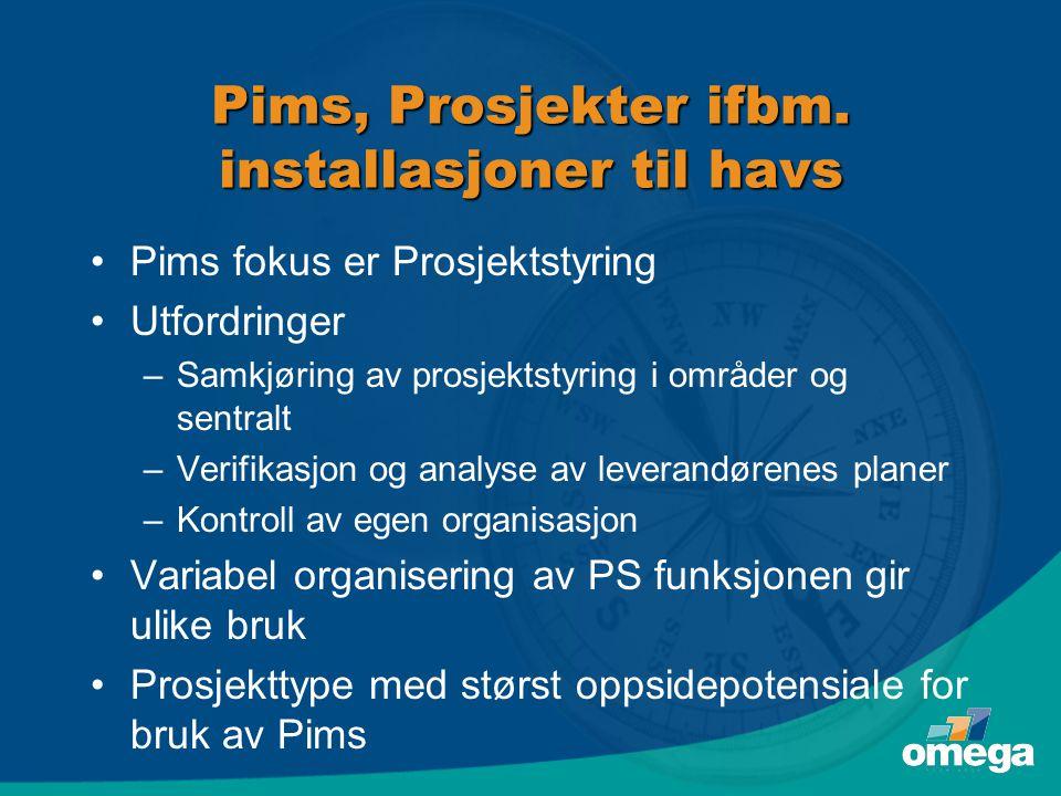 Pims, Prosjekter ifbm. installasjoner til havs •Pims fokus er Prosjektstyring •Utfordringer –Samkjøring av prosjektstyring i områder og sentralt –Veri