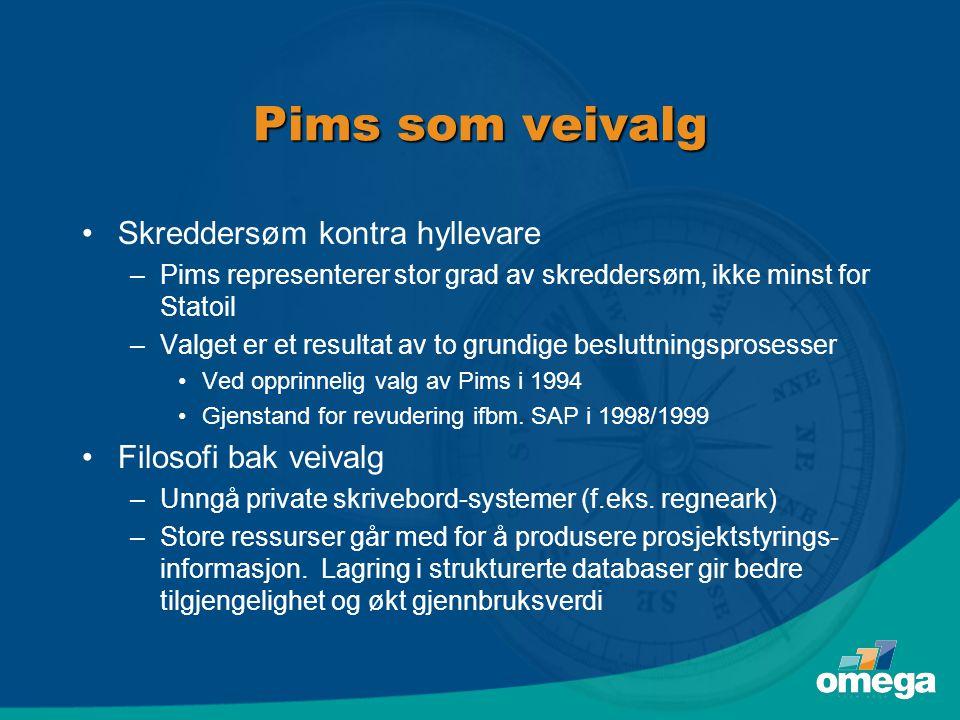 Pims som veivalg •Skreddersøm kontra hyllevare –Pims representerer stor grad av skreddersøm, ikke minst for Statoil –Valget er et resultat av to grund