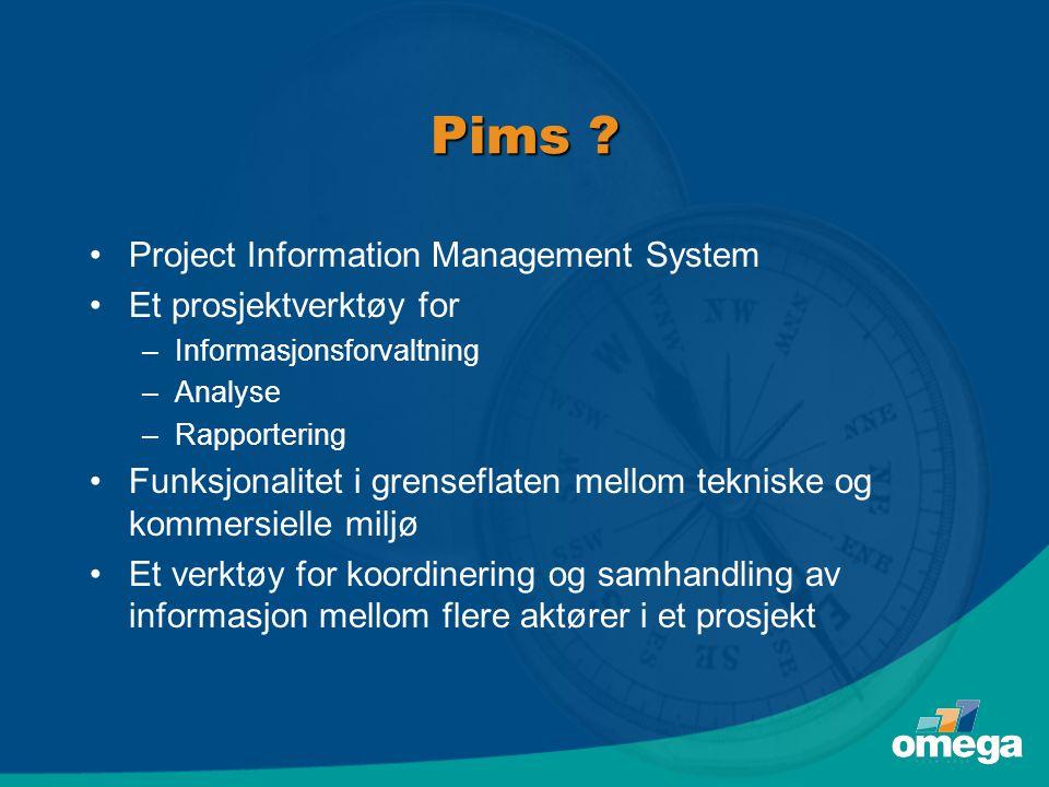 Pims ? •Project Information Management System •Et prosjektverktøy for –Informasjonsforvaltning –Analyse –Rapportering •Funksjonalitet i grenseflaten m