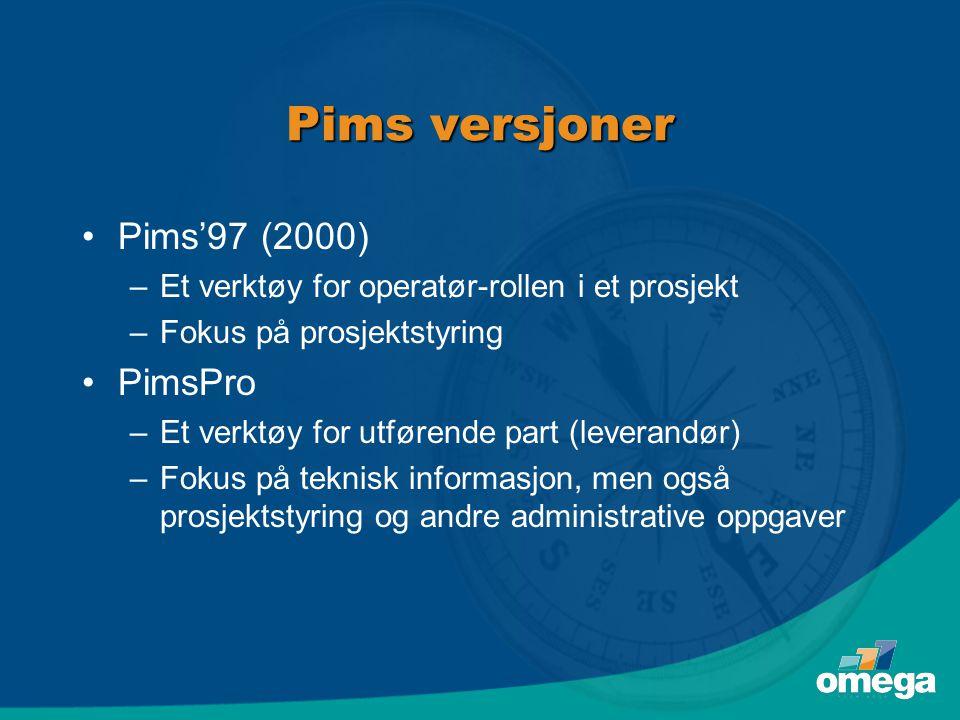 Pims versjoner •Pims'97 (2000) –Et verktøy for operatør-rollen i et prosjekt –Fokus på prosjektstyring •PimsPro –Et verktøy for utførende part (leverandør) –Fokus på teknisk informasjon, men også prosjektstyring og andre administrative oppgaver