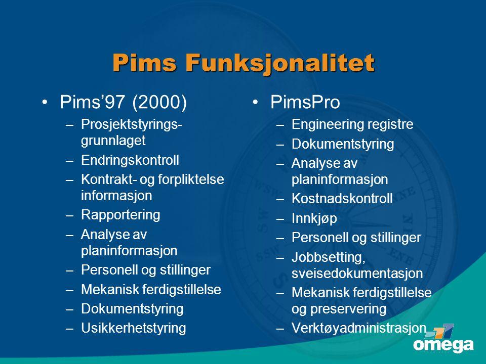 Pims Funksjonalitet •Pims'97 (2000) –Prosjektstyrings- grunnlaget –Endringskontroll –Kontrakt- og forpliktelse informasjon –Rapportering –Analyse av p