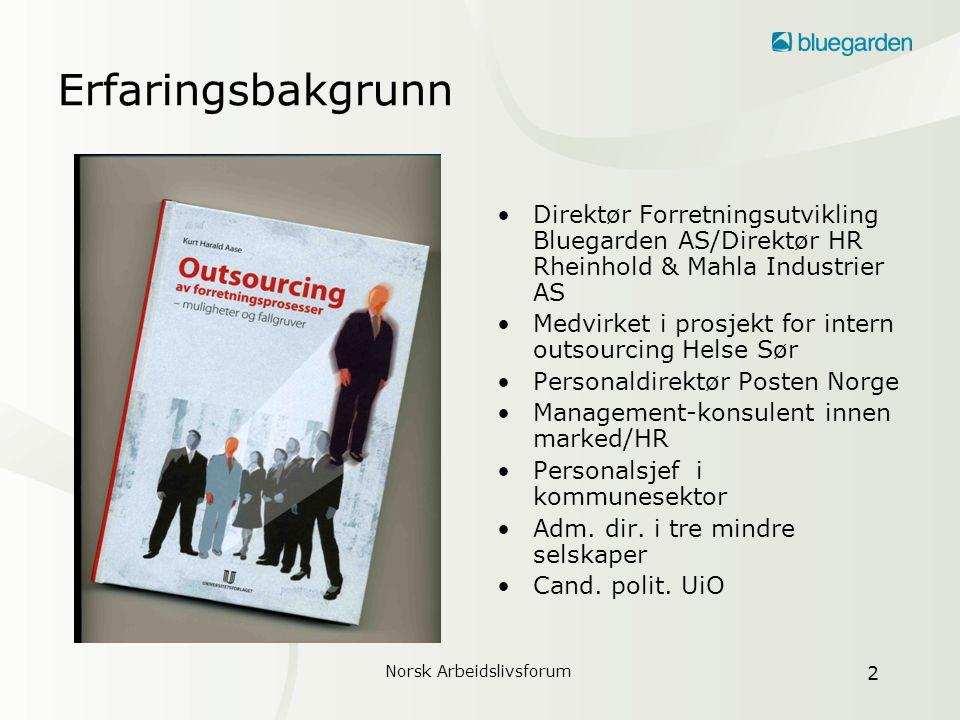 Norsk Arbeidslivsforum 3 Outsourcing betyr..