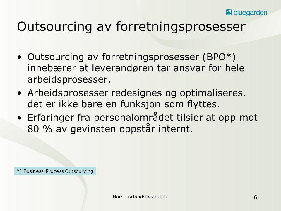 Norsk Arbeidslivsforum 7 Hvem velger outsourcing.•Sterk forkjemper for outsourcing internt.