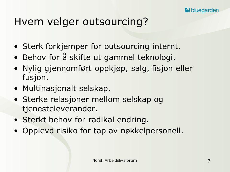 Norsk Arbeidslivsforum 8 Motiver for outsourcing Fleksibilitet Fokus Sammenlign- barhet Sammenlign- barhet Beste praksis Skalerbarhet Rask gjennomføring av endringer i organisasjon, rutiner og infrastruktur.