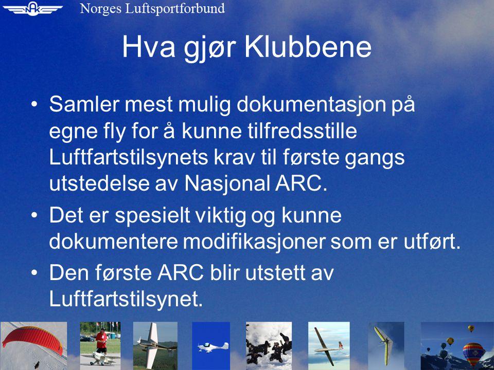 Hva gjør Klubbene •Samler mest mulig dokumentasjon på egne fly for å kunne tilfredsstille Luftfartstilsynets krav til første gangs utstedelse av Nasjonal ARC.