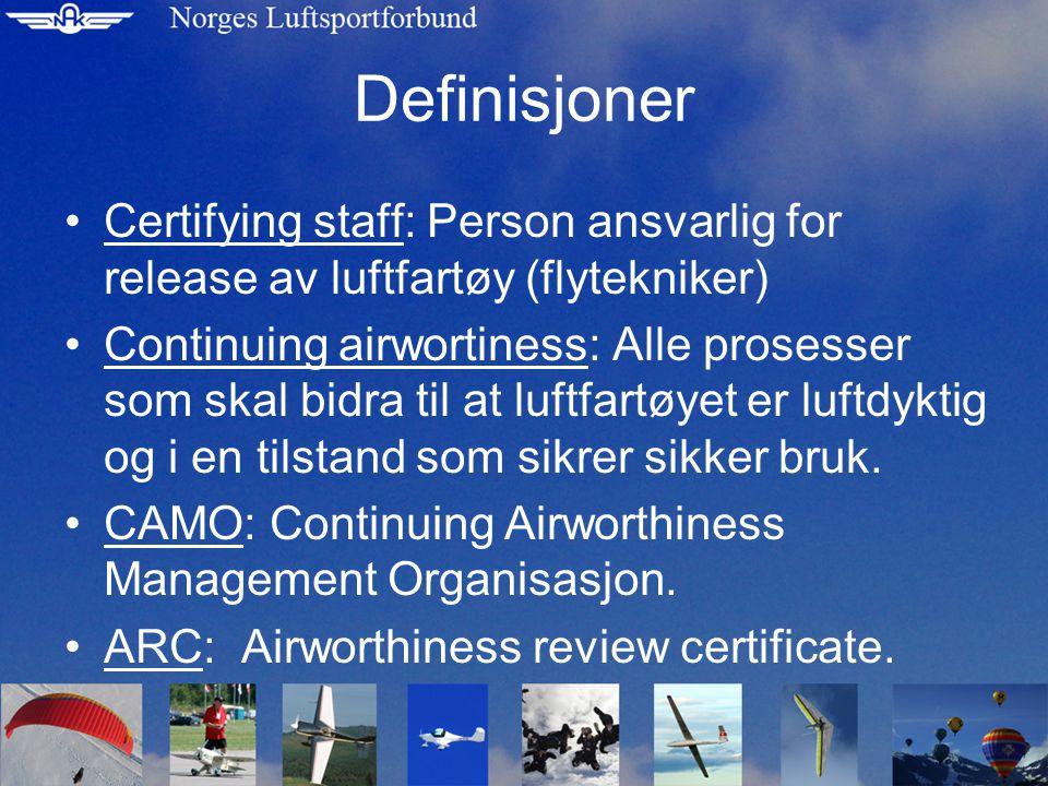 Definisjoner •Certifying staff: Person ansvarlig for release av luftfartøy (flytekniker) •Continuing airwortiness: Alle prosesser som skal bidra til at luftfartøyet er luftdyktig og i en tilstand som sikrer sikker bruk.