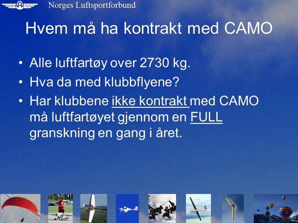 Klubben har ikke kontrakt med CAMO •Er klubben UTENFOR en godkjent CAMO må klubben kontakte en CAMO en gang i året.