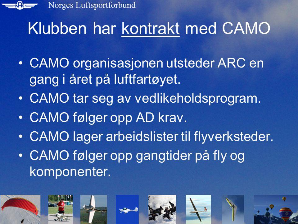 Klubben har kontrakt med CAMO •CAMO organisasjonen utsteder ARC en gang i året på luftfartøyet.