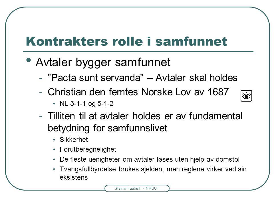 """Steinar Taubøll - NMBU Kontrakters rolle i samfunnet • Avtaler bygger samfunnet -""""Pacta sunt servanda"""" – Avtaler skal holdes -Christian den femtes Nor"""